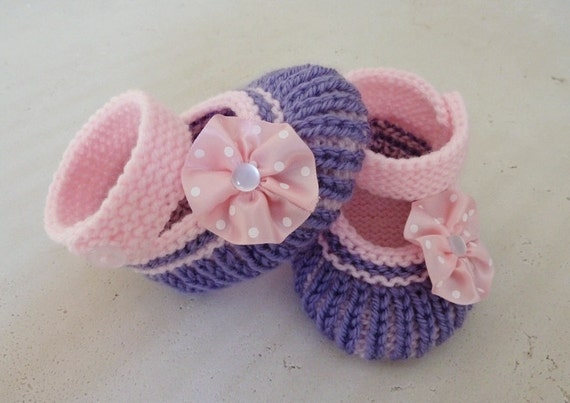 Hand Knitted Baby Booties in Medium Purple and Pink - Ready to Ship