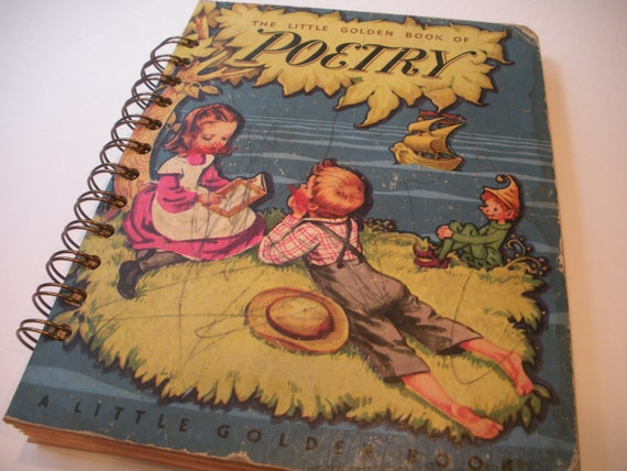1947 Vintage The Little Golden Book of Poetry Little Golden Book Recycled Journal Notebook