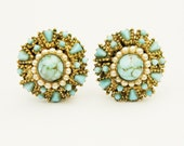 Vintage 1960s Italian clip brass earrings with turquoise and faux pearls