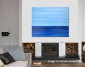 SALE.. Original Modern Minimalism Abstract Landscape Canvas Acrylic Painting: Calm Ocean - Deep Blue Sea, Light Clear Sky 24 x 20