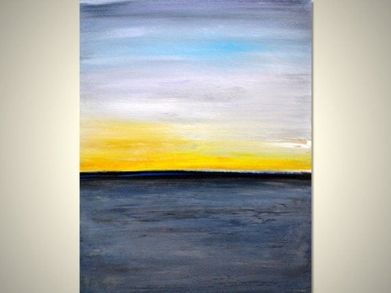 GLOW: Original Modern Abstract Landscape Seascape Painting - Glowing Yellow Sun Over Grey Blue Water Ocean 16 x 20
