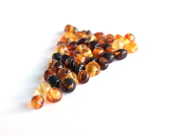Loose Baltic amber round beads 50 psc. Multicolored