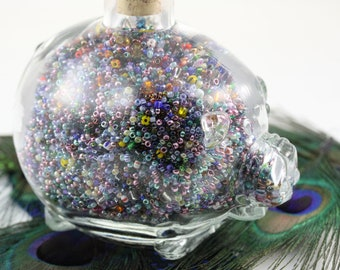Glass Cork Top Pig Filled With Colorful Glass Seed Beads