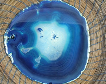 Rustic Handmade Coiled Pine Needle Basket With Stunning Sea Blue Agate Center