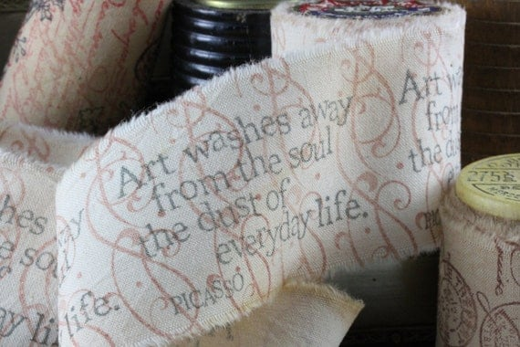 Art and Soul - Vintage Inspired Hand-Stamped Tea Dyed and Frayed Muslin Trim Around A Charming Vintage Wooden Spool
