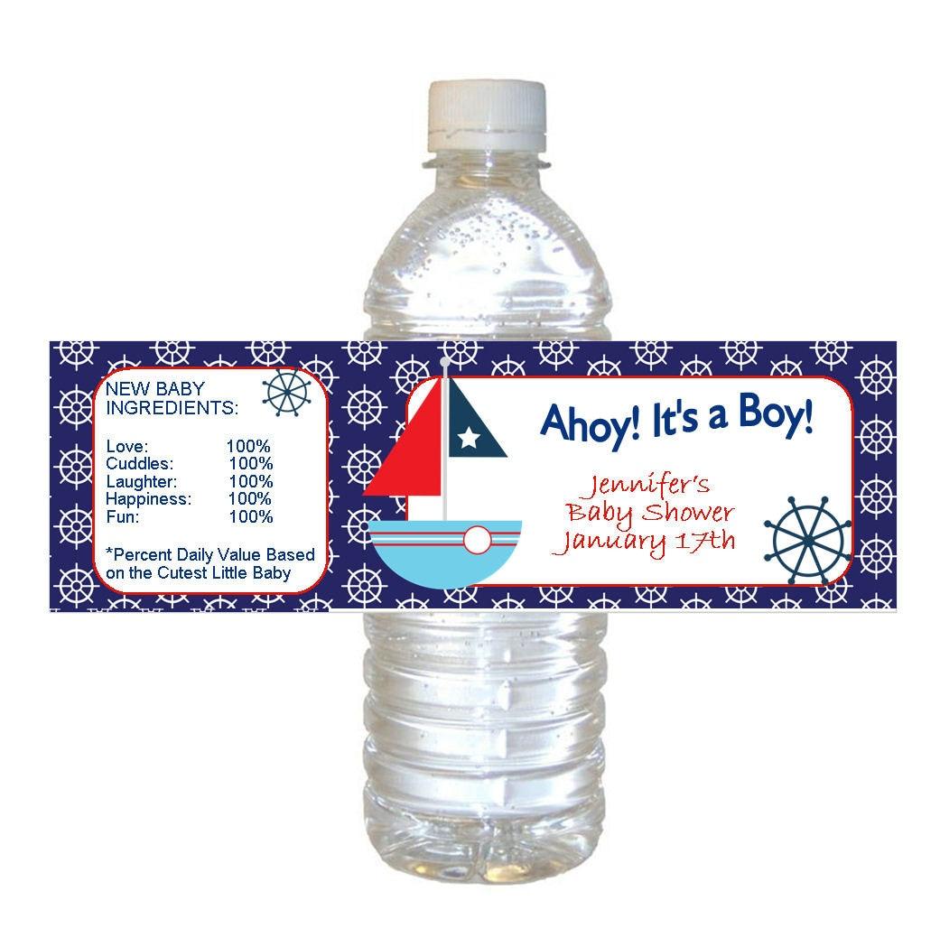 Personalized Nautical Baby Boy Shower Waterproof Water Bottle