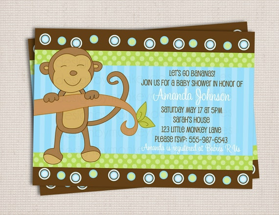 items similar to little monkey boy baby shower custom printable, Baby shower