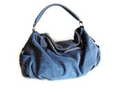 Leather Hobo Bag, Blue Suede Handbag, Large Shoulder Bag, Everyday Bag,  Saddle Purse