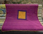 """Crochet Baby Blanket 40"""" Granny Square Afghan Yellow Mustard Purple Violet Magenta Multicolor Home decor Autumn Trends by dodofit on Etsy"""