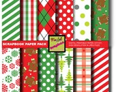 Christmas wrapping papers, Digital papers, Scrapbook papers, gingerbread, plaids, allover prints