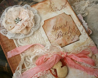 Custom Vintage style Guest book for wedding - vintage shabby chic - 200 pages