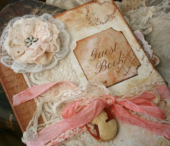 Custom Vintage style Guest book for wedding - vintage shabby chic - 100 pages