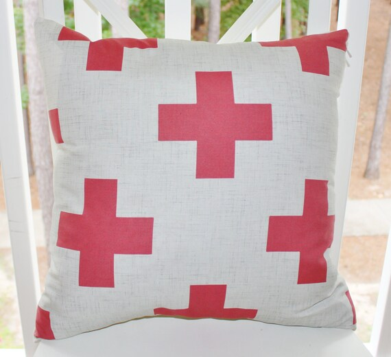 Decorative Pillow Cover - 16x16 Red Gray Modern Pillow - Red Modern Pillow - Swiss Cross Throw Pillow