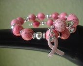 Pink Breast Cancer Awareness Bracelet - Pink Howlite
