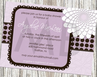 Floral Polka Dot Purple & Brown Baby Shower Invite - Baby Boy or Girl