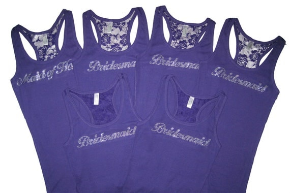 6 Bridesmaid Tank Top Shirts. Bride Tank Top Shirt. Maid of Honor. Matron of Honor. Mother of the Bride. Mother of the Groom.