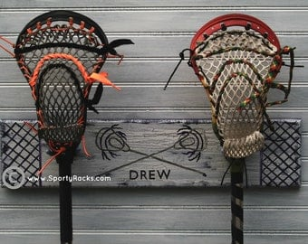 Lacrosse Player Lax Custom 2 Stick Hanger Team Colors/ Number MTO Stick Rack Handmade and Handpainted Sports Wall Decor Personalized Sign