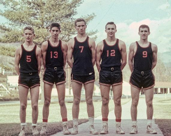 1950s boys basketball team vintage photo from original