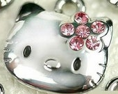 Cute silver Hello Kitty clip charm with HOT pink rhinestones for zippers, bookbags, cellphones, jewelry making, scrapbooking, party favors