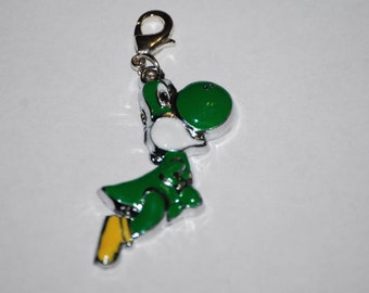 Mario's friend Yoshi Enamel Clip Charm, zipper pull, backpack, cell phone, purse clip, bracelet, necklace or scrapbooking