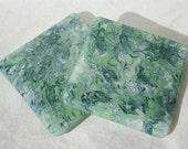 Green Swirl Fused Glass Coasters - Pair