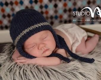 Newborn Photo Prop, Baby Bomber Hat, Navy Blue Bomber Hat, Baby Boy Knit Hat, Bomber Baby Hat, Baby Boy Kniited Hat, Baby Photo Prop
