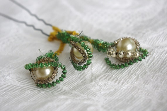 Vintage Millinery Supply: Green French Coil and Bead 3 Strand Ornament Handmade