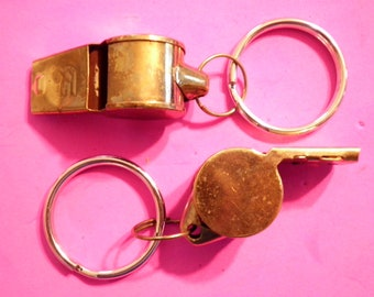 2 Vintage 1980s Whistle Key Rings