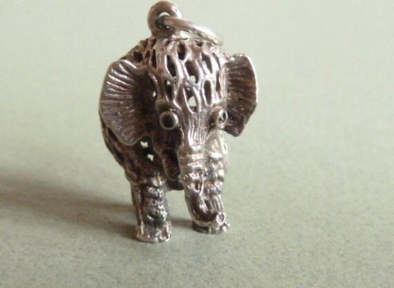 CHIM Vintage 3D Sterling silver Filigree Elephant charm Pendant bracelet charm