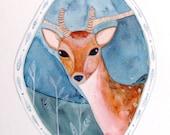 Deer Stag Watercolor Painting Ink Animal Portrait Nature Deer Drawing Contemporary Art Beige Brown Blue Grey Landscape Deer Decor Deer Art