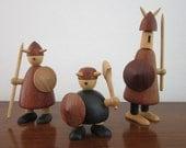 RESERVED FOR PP...........Vikings of Denmark, Jakob (Jacob) Jensen, Set of Three Mid Century Wood Figures
