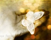 Butterfly Print, Sparkly Butterfly - Celestial Art Print, Sparkly Lights, Bokeh Photography, White Gold Lights, Night Lights, 8x12 - AgaFarrell