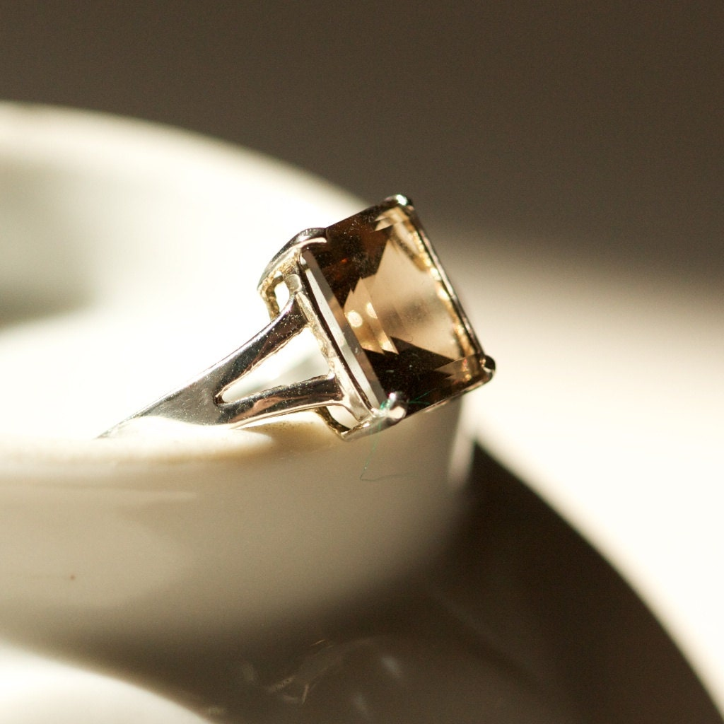 smoky quartz sterling silver ring by twicebakedvintage on etsy