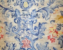 PIERRE DEUX SORIANO French County Toile Fabric 10 yards Federal Blue Multi