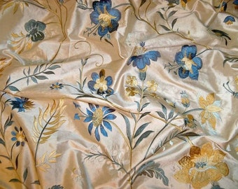 LEE JOFA GUINEVERE Embroidered Silk Fabric 10 yards Cream Multi