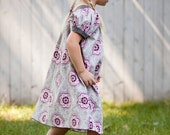 End of Summer Sale Toddler Short Sleeve Round Yoke Neck Dress - Grey & Pink Floral Medallion (MADE TO ORDER)