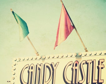 The Candy Castle - 8x8 Fair carnival minty green cream red photography print home nursery room decor wall art festival fun flags sweet ride