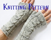 Instant Download PDF Knitting Pattern - Cabled Fingerless Mittens, Cabled Fingerless Gloves, Arm Warmers