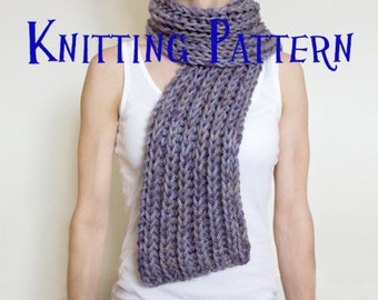 Instant Download PDF Knitting Pattern - Simple Super Chunky Scarf, Ribbed Scarf Pattern, DIY Knit Scarf, Instructions