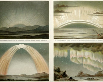 RESERVED for tspdddd. 1897 Antique rare lithograph of AURORA BOREALIS, Northern Lights, Artic Aurora, Aurorae. 119 years old celestial print