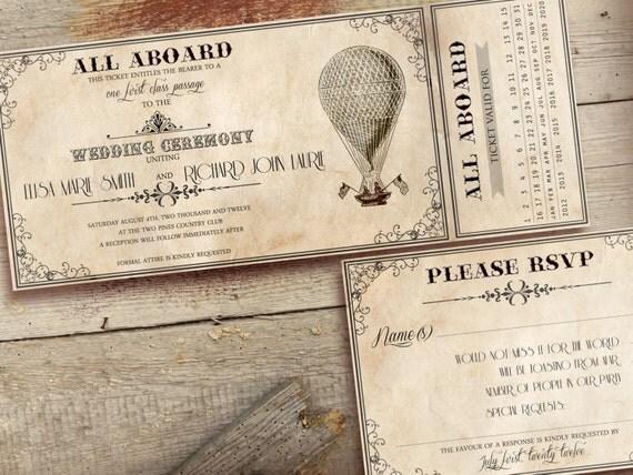 Wedding Ticket Invitations: Items Similar To Printable VINTAGE WEDDING INVITATIONS