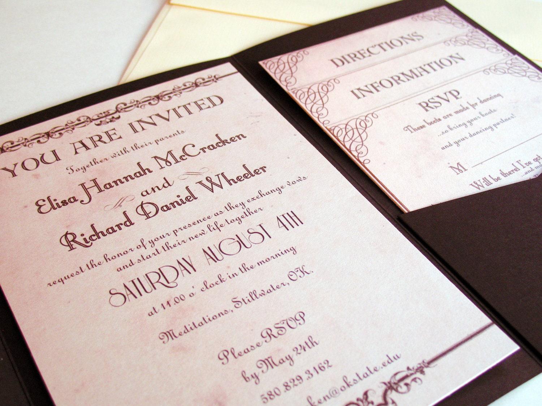 Wedding Invitation Pocket Fold: Pocket Fold Wedding Invitation Suite Pocketfold Country