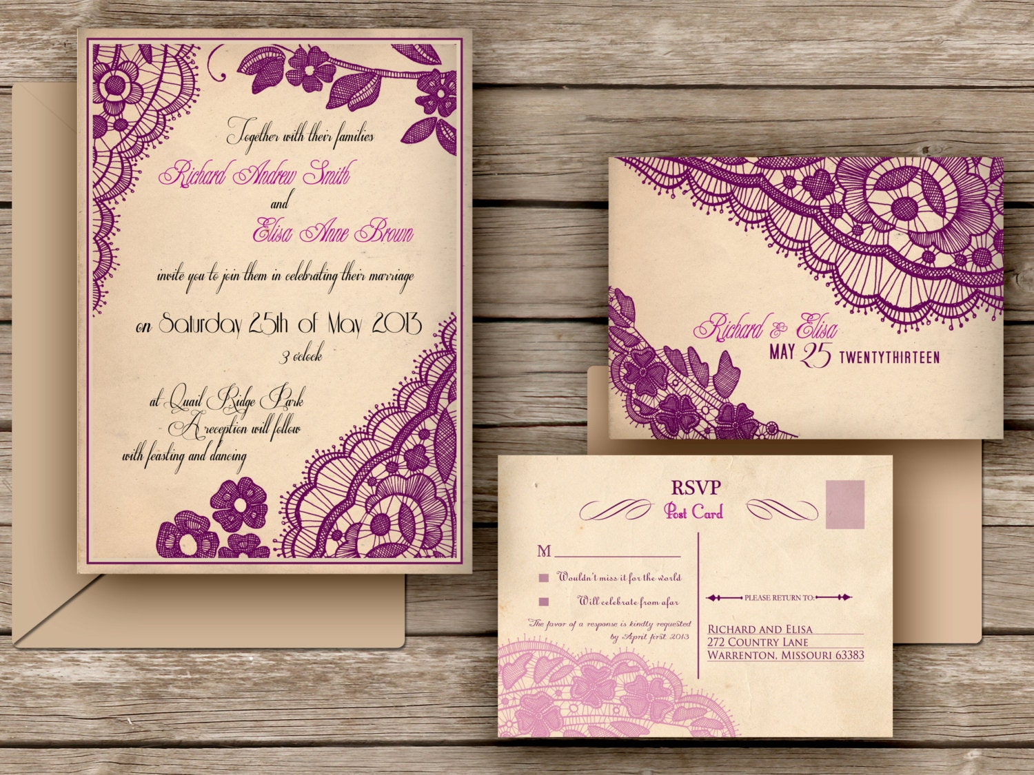 Wedding Invitation With Lace: WEDDING INVITATIONS PRINTABLE Lace By DesignedWithAmore On
