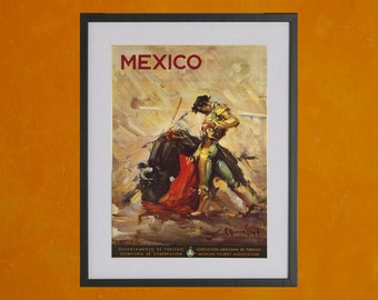 The Matador - Mexico Tourism Poster - 1944 - 8.5x11 Poster Print - also available in 13x19 - see listing details