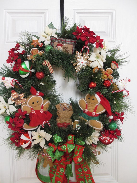 Christmas Wreathgingerbread Wreathholiday By Hollyhillwreaths