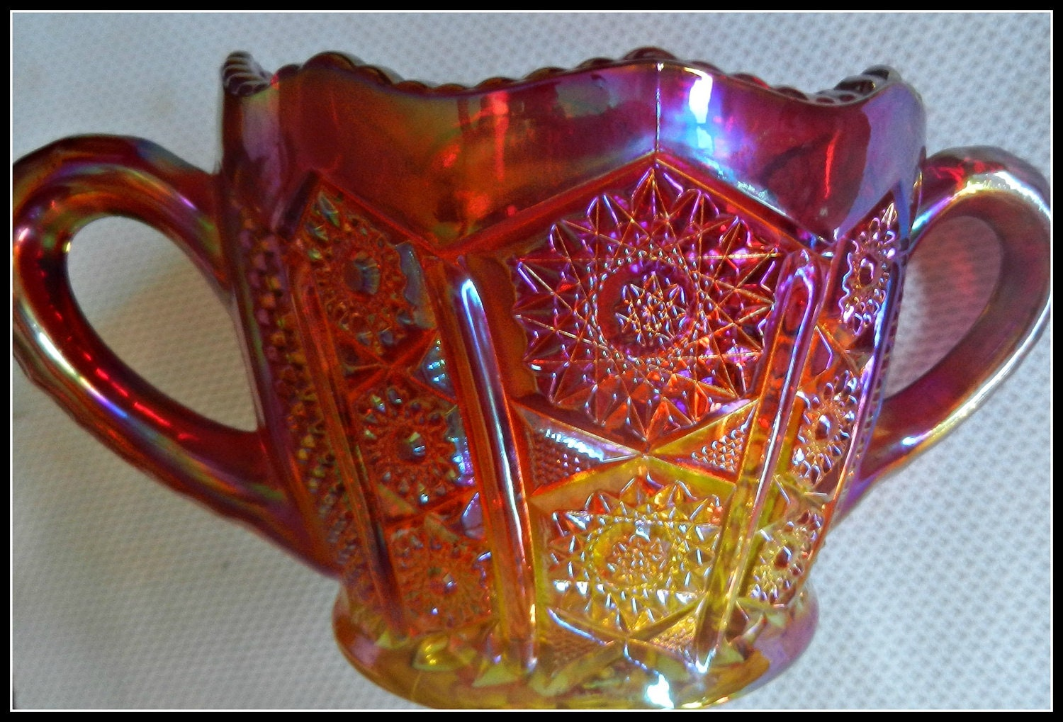 Vintage indiana carnival glass sugar bowl by missgingerlee