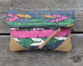 leather clutch, printed cotton, fold-over clutch, pink, geomtric