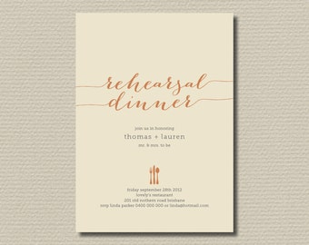 Printable Wedding Rehearsal Dinner Invitation in fall colours  (RD17)