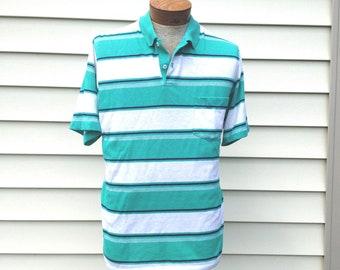 Vintage // Retro Striped Munsingwear Polo Shirt