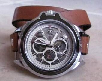 Automatic Mechanical Skeleton Wrist Watch  Free shipping